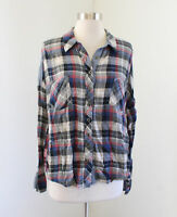 We the Free Free People Plaid Chambray Raw Edge Button Front Blouse Shirt Size M