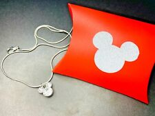Mickey Silver Pendant Necklace 19in Chain Rhinestone Christmas Gift Mouse