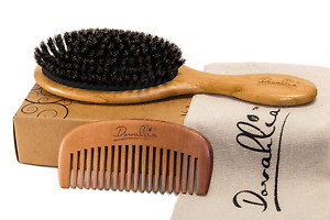 Boar Bristle Hair Brush Set for Women and Men - Designed for Thin and Normal Hai