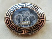Antique Victorian Gold & Black Enamel Hair Mourning Brooch Locket Pin 1876