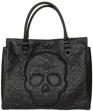 Loungefly Black on Black Lattice Sugar Skull Day of the Dead Tote