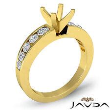 Diamond Engagement Round Semi Mount Ring Channel Setting 14k Yellow Gold 0.7Ct