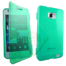Custodia Jelly Touch cover verde trasparente per Samsung Galaxy S2 i9100 flip