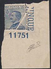 REGNO 1908 - 25 c. n.83 MICHETTI VARIETA'+ NUMERO DI TAVOLA 11751