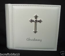 Christening Photo Album Silver coloured Fancy Cross - END OF LINE PRICE