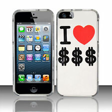 For Apple iPhone 5 5S SE Rubberized HARD Protector Case Phone Cover I Love Money