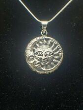925 Sterling Silver Moon Sun Pendant Includes Italian Snake Chain