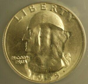 1965 Washington Quarter 25c Mint Error Struck Thru Struck Fragment ANACS MS-63