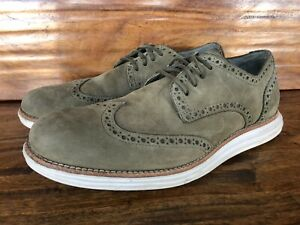 "Men's Cole Haan ""Lunargrand"" Wingtip Fashion Sneakers Stone Olive Suede Size 8"