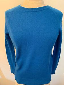 HALOGEN Petite BLUE 100% Cashmere Long Sleeve Round Neck Sweater Size XS
