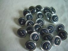 SILVER WITH BLACK CENTRE SHANK   BUTTONS  x 24  FREE P&P