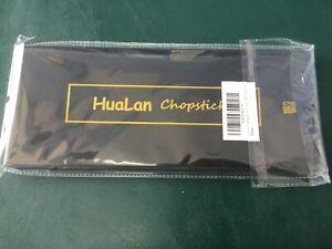hualan chopsticks fibreglass with gift case new box black gold color 9 1/2 Inche