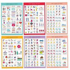 5 tlg Kalender Papier Aufkleber für Scrapbooking Tagebuch Planer Fotoalbum Deco