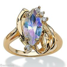 14K GOLD GP MARQUISE CUT AURORA BOREALIS CRYSTAL ACCENT RING SIZE 5 6 7 8 9 10