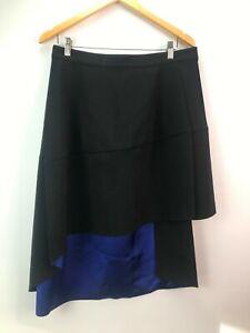 COS 18 or 44 black asymmetrical hemline A-line skirt knee length satin blue line