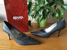 Ladies Renata black with pearlescent pattern leather court shoe UK 6 EU 39 BNWB