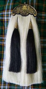 BAGPIPE PIPER KILT SPORRAN/SCOTTISH WHITE HORSE HAIR Kilt SPORRAN ANTIQUE CANTLE