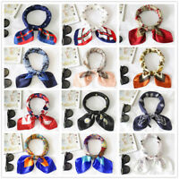 1PCS Lady Silk Feel Satin Square Scarf Colorful Printed Head Neck Hair Tie Band