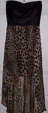 Profile Women's Strapless Dress Cheetah/Animal Print Size Small Hi/Low