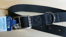 "New listing Dog Collar Black New! double nylon fabric Xlarge 21X24"" Chrome Steel Buckle"