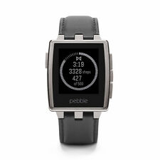 Pebble Steel SIlver Leather Strap 401SLR Smartwatch £120 Used Very Good