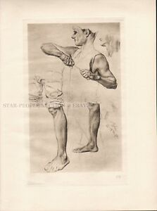MAX KLINGER - study to misery * very rare copperplate engraving 1915