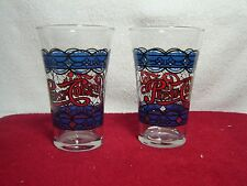 Vintage Pepsi Blue Stained Glass Look Flared Glasses Set Of 2