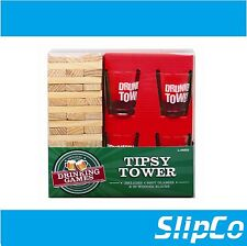Wooden Tipsy Drunken Tower Jenga Adult Party Drinking Game & 4 Glasses