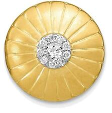 14k Yellow Gold Satin Diamond Flower Slide Pendant