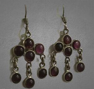 VTG sterling silver handmade earrings, 925 Amethyst bead dangles