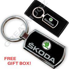 SKODA CAR KEYRING KEY CHAIN RING FOB CHROME METAL NEW
