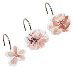 Croscill Liana Flower Shower Curtain Hooks Set of 12