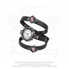 Alchemy Heartfelt Swarovsky Crystal Hearts Leather Straps Adj Quartz Wrist Watch