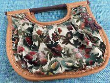 Poupa Litza Vintage 60s Cut Velvet Floral Knitting Baguette Carpet Tapestry Bag