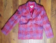 Hillary Charles Size L Mohair/Wool Pink Purple Woman's Lined Jacket Coat