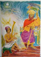 IRA MOSKOWITZ 1912-2001 LITHOGRAPH SIGNED NUMBER JUDAICA ART DANIEL AND THE KING