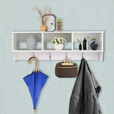 Entryway Wall Mount Coat Rack Storage Shelf Cubby Organizer Hooks White