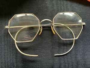 Vintage Chicago Collectible Eye Glasses Octagon Shape 12ktgf With Original Case