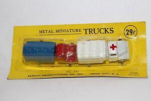1950's Barclay Diecast Metal Gasoline & Medical Trucks, Nice with Original Box