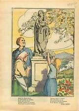 Statue de la Vierge Marie Enfant Jesus Cerisier Fleurs France 1937 ILLUSTRATION