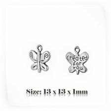"""20 Tibetan Silver Style Butterfly """"CREATED FOR YOU"""" Charms Pendant Steampunk 077"""