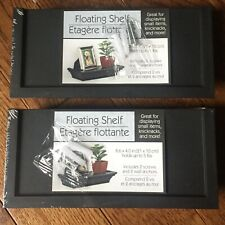 "x2 Floating Shelves Black Set 8.6 X 4"" Holds Up To 5lbs Screws & Wall Anchors"