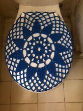 Handmade Crochet Round Toilet Lid/Seat Cover Blue #14