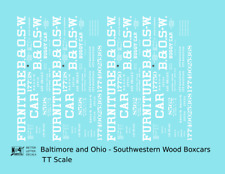 K4 TT Decals Baltimore and Ohio-Southwest Early Wood Boxcar White