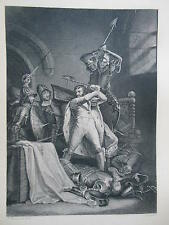 Orginal c1880 Antiquarian Engraving of the Death of King Richard II (Royalty)