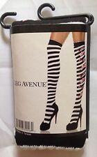 Candy Bow Black White Striped Overknee Stockings Socks Festival Border Leg Ave