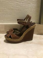 Authentic Christian Louboutin Sandals High Wedge Espadrille Leather Size 40