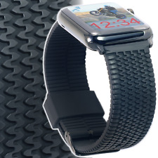 Apple Watch Band 42mm Large / XL TIRE TREAD by CARTERJETT / Black Silicone Rubbe