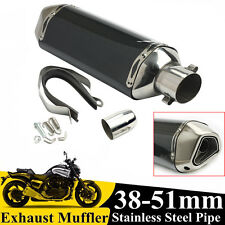 38-51MM Universal Motorcycle Street Bike Carbon Fiber Exhaust Muffler Pipe tip