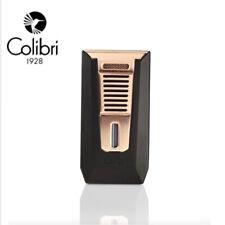 Colibri Slide Double Jet Flame Cigar Lighter With Punch Cutter - Black & Rose